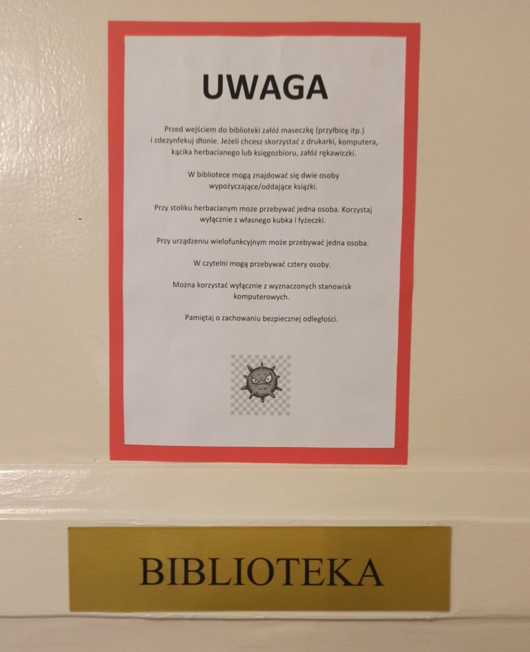 zasady w bibliotece w związku z covid-19