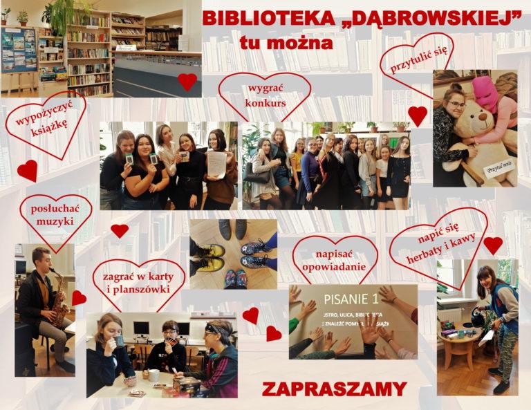 baner z informacjami co można robić w bibliotece